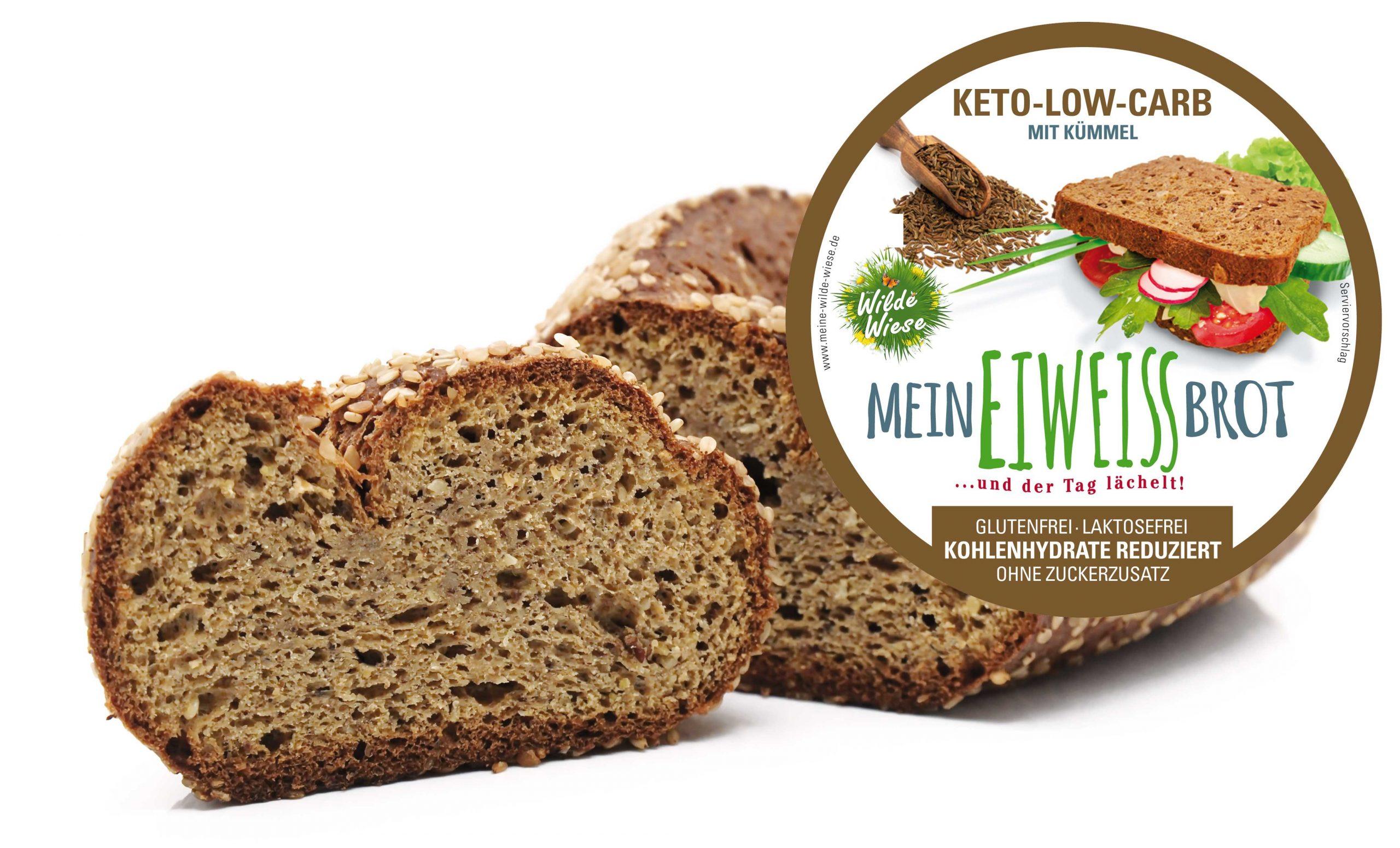 Wilde Wiese Eiweißbrot - Kümmel Geschmack - Keto / Low Carb / Diabetiker Brot / Glutenfrei / Zuckerfrei / Vegan